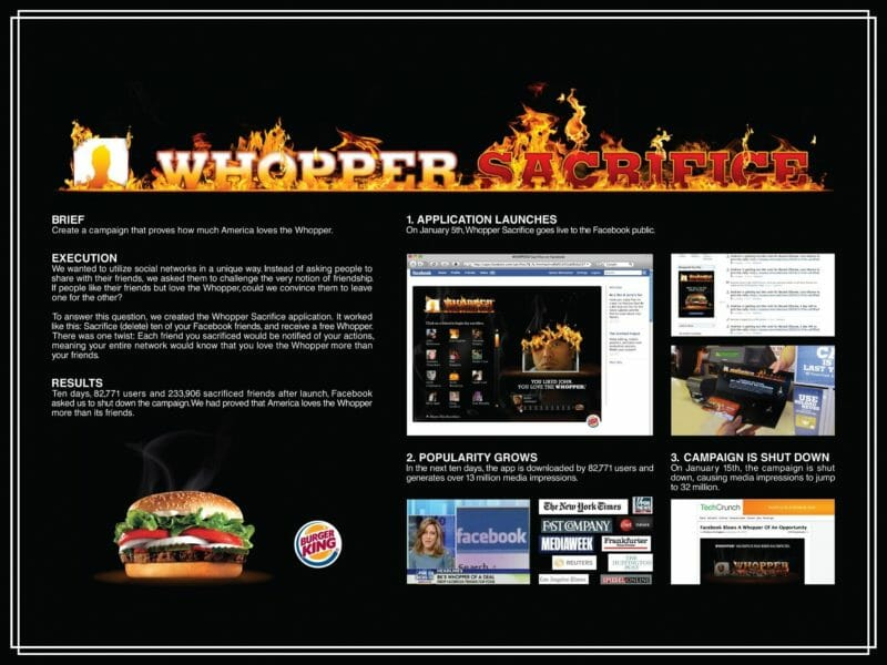 burger king facebook reklamı whopper sacrifice